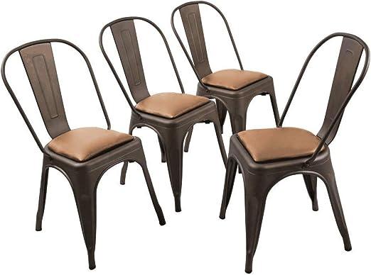 Changjie Mobile, Confezione da 4 sedie per Sala da Pranzo Metallo Indoor Outdoor Side Chairs Canna di Fucile con Seduta in Legno Moderno Side Dining