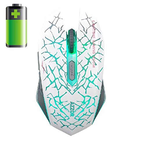 Perman 2.4GHz Wireless 7D Rechargeable 2400DPI 6 Buttons Optical USB Gaming Mouse (Black 10g Optical Frame)