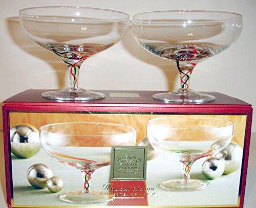 Lenox Holiday Ribbon Footed Crystal Compote Set/2 Green/Red Stems 21oz NIB by Lenox Holiday Ribbon