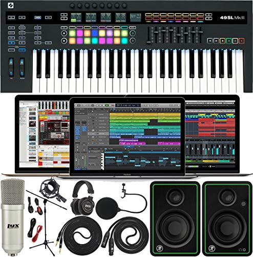 Novation SL MkIII MIDI and CV 49 Keys Keyboard Controller with Software Pack of Ableton Live Lite and 4 GB of Loopmasters Sounds & Samples w/Mackie CR3-X Pair Studio Monitors & Instrument Cables