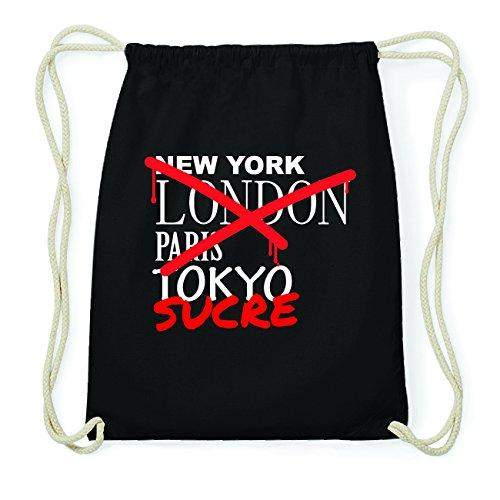 JOllify SUCRE Hipster Turnbeutel Tasche Rucksack aus Baumwolle - Farbe: schwarz Design: Grafitti