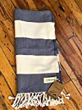 Bersuse 100% Cotton - Cayman Turkish Towel - Bath Beach Fouta Peshtemal - OEKO-TEX Certified - Warm Rich Colors Pestemal - 37X70 Inches, Dark Blue/Natural
