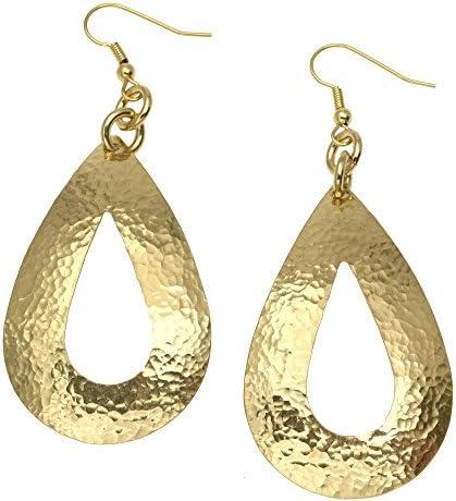 BE5 Minimalist Jewelry Handcrafted Metal Earrings Gold Filled Ear Wires Hammered Brass Dangles Large Tear Drop Earrings