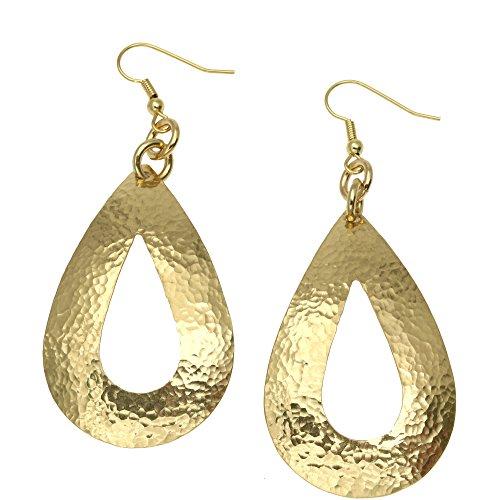 - Hammered Nu Gold Brass Open Tear Drop Earrings By John S Brana Handmade Jewelry Brass Earrings