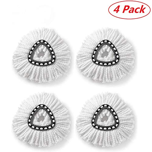 - Microfiber Clean Pad Spin Mop Refill for O-Cedar Easy Wring Mop Easy Cleaning Mop Head Replacement - 4 Pack