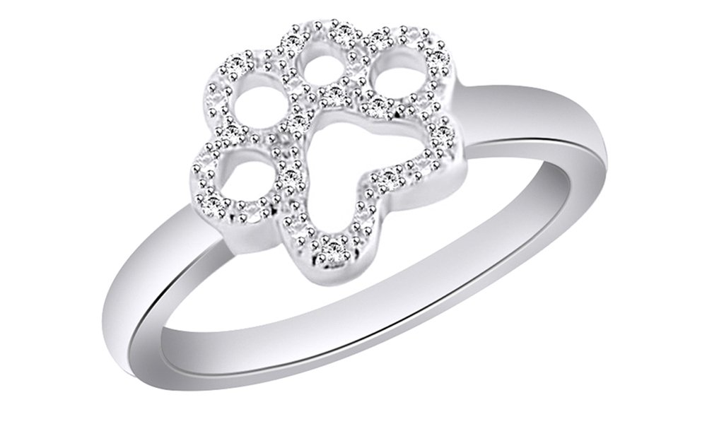 Jewel Zone US White Cubic Zirconia Paw Style Fashion Ring In 14k White Gold Over Sterling Silver