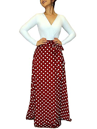 Aublary Womens Long Sleeve Maxi Dress Round Neck Casual Tunic Long Maxi Dress, Red Polka Dots S