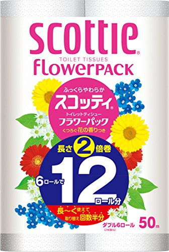 Japan Household Cleaning Supplies - Scotty Flower pack twice winding double 114mm ¡Á 50m 6 roll input *AF27* ()
