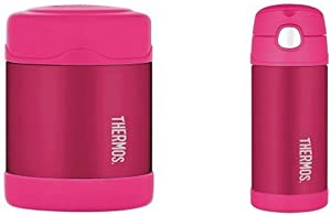 Thermos Funtainer 10 Ounce Food Jar, Pink and Thermos Funtainer 12 Ounce Bottle, Pink Bundle