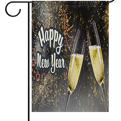 Mesllings Happy New Year Toast Garden Flag House Banner 12 x 18 inch, Fireworks Christmas Small Mini Decorative Double Sided Welcome Yard Flags for Holiday Wedding Party Home Outdoor Outside Decor