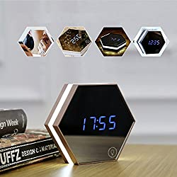 Portable Mirror Alarm Clock PYRUS Night Light Rechargeable Digital Alarm Clock Powered Led Table Lamp Travel Alarm Clock