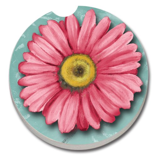 CounterArt Absorbent Stoneware Car Coaster, Blooming - Daisy Tile Coaster