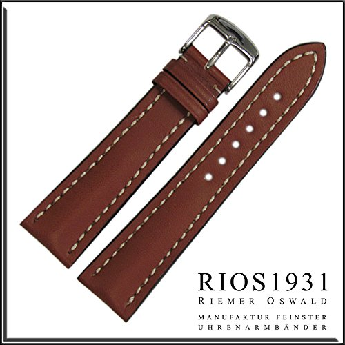 22x20 Millimeters RIOS1931 for Panatime - Cognac Tornado Genuine Russian Leather Watch Strap (Breitling Replacement Strap) 22/20