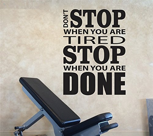 trfhjh Quotes Wall Sticker Home Art Vinyl Wall Decals Motivation, Don't Stop When You are Tired Stop When You are Done Home Gym Design Wall Sticker QuotesFor Bedroom Living Room Kids Room by trfhjh