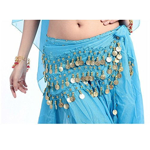 Xerhnan Belly dance belt 3 rows of 98 coins chiffon waist chain(sky blue)