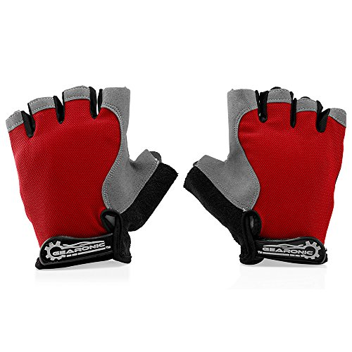 GEARONIC TM Cycling Workout Gloves Half Finger Mountain Bicycle Men Women Gel Pad Anti-Slip Breathable Outdoor Sports Shock-Absorbing Riding Biking Cycle Glove - RedL