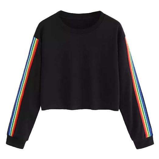 ada3a4dd6624b1 Women Teen Girls Cute Rainbow Patchwork Crop Top Sweatshirt Hoodie Long  Sleeve