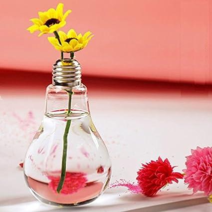 Dortoir Cuisine Bureau Bureau Cadeau de D/écoration Id/éal Ne contient pas de petites fleurs size 8cm*12cm Doitsa 1PCS Mini Vase Decoratif Vase Verre Transparent Vase en Forme de Bulbe Cr/éatif Vase Simple Pour Chambre Salon