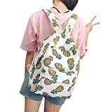 ShiningLove Cute Student Fruit Printing Canvas Backpack Girls Shoulder Bag Schoolbag Rucksack Pineapple