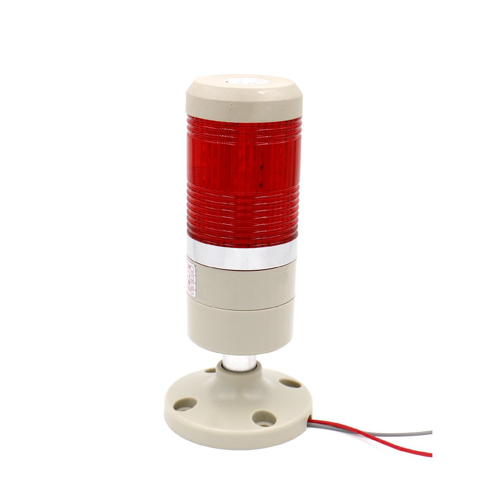 Baomain Industrial Signal Light Column LED Alarm Round Tower Light Indicator Continuous Light Warning light Red AC 110V