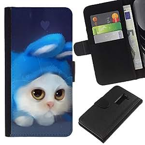 LG G2 D800 D802 D802TA D803 VS980 LS980 , la tarjeta de Crédito Slots PU Funda de cuero Monedero caso cubierta de piel ( White Cat Rabbit Costume Art Drawing Blue)