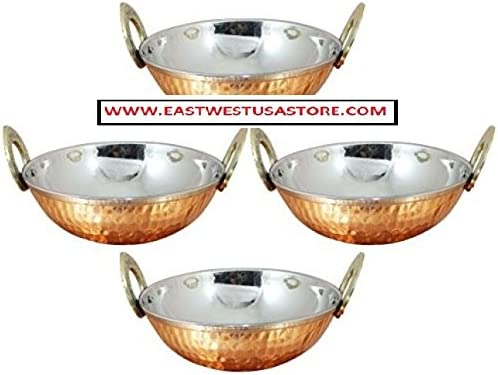 Copepr /& Stainless Steel Kadai Bowl