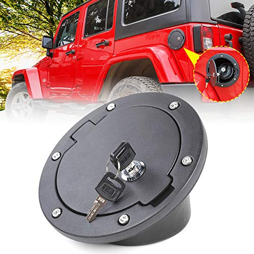 - JeCar Fuel Door Cover Locking Gas Cap Cover for 2007-2018 Jeep Wrangler JK & Unlimited