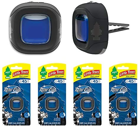 Little Trees New Car Scent Air Freshener | Vent Liquid Provides Long-Lasting Fragrance for Auto or Home (Pack of 4)