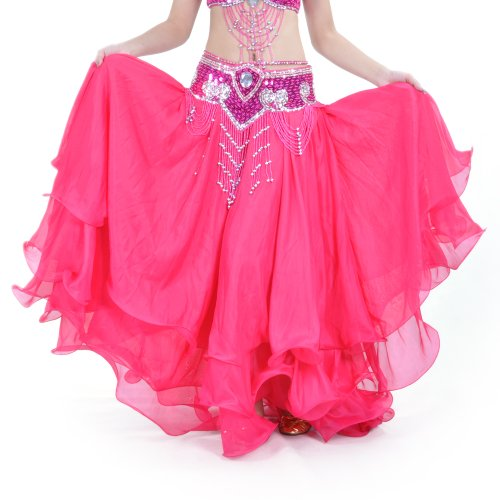 BellyLady Belly Dance Skirt Halloween Tribal Chiffon Tiered Maxi Full Skirt ROSERED