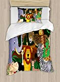 Ambesonne Zoo Duvet Cover Set Twin Size, Animals in the Jungle Funny Expressions Exotic Comic Cheer Natural Habitat Illustration, Decorative 2 Piece Bedding Set with 1 Pillow Sham, Multicolor