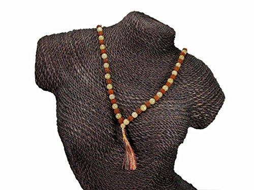 Golden Quartz and Rudraksha Seeds Mala with Tassel for Spiritual Growth, 8mm Beads