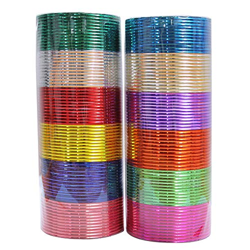 MUCH-MORE Indian Traditional Plain Metal Bangles Box Bracelets Indian Costume Partywear Jewelry for Women (08, 2.4)