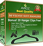 Best Suit Velvet Hangers Pack of 50 Hangers By AVROZ Ultra Thin Non Slip Stainless Steel Black Heavy Duty Cloth Hangers With 20 Bonus Hanger Clips For Suits Shirts Pant Skirts Hang All Clothes