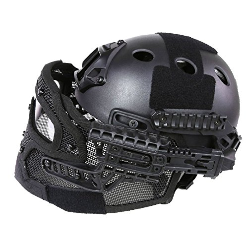 A&N Airsoft Tactical Helmet Mask With Goggles PJ Style G4 System Protective Gear In Black