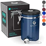 Coffee Gator Coffee Canister Stainless Steel Coffee Container - Fresher Beans and Grounds for Longer - Date-Tracker, CO2-Release Valve and Measuring Scoop - Large, Blue