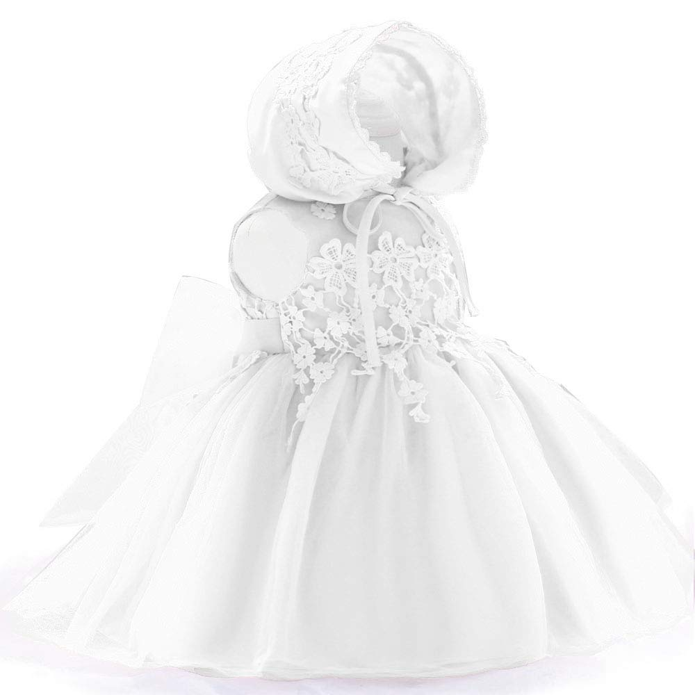 DoMii Baby Girl Dress Christening Gown Baptism Lace White Dress with Bonnet