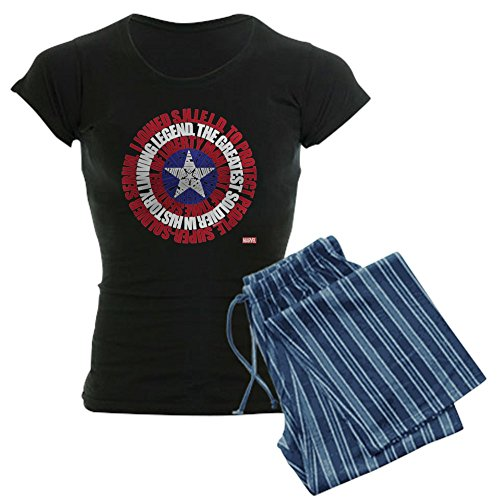 (CafePress Captain America Word Shield Womens Novelty Cotton Pajama Set, Comfortable PJ)