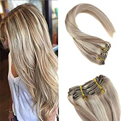 Sunny 16inch Human Hair Clip in Extensions Dark Ash Blonde Highlight Bleach Blonde 7 piece 120G Real Remy Human Hair Extensions Clip in Extensions for Full Head