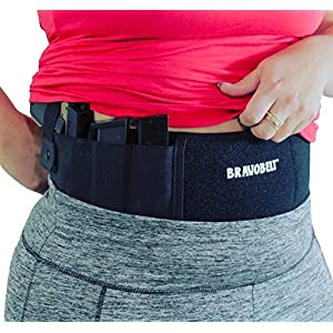 Premium Belly Band Holster for Concealed Carry – Heavy Duty, with Dual Magazine Pouches, Ambidextrous, Men & Women, Excellent Gun Owner Gift – By BravoBelt