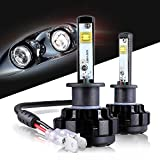 LED Headlight Bulbs H1 All-in-One Conversion Kit,12000 Lumen (6000K Cool White) Anti-flicker Beam, HID or Halogen Head light Replacement by Max5