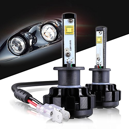 - LED Headlight Bulbs H1 CREE Chips All-in-One Conversion Kit,12000 Lumen 6000K Cool White Anti-flicker Fit for High Beam Low Beam Fog Car Lights Replacement by Max5-2 Years Warranty