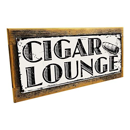 Framed Cigar Lounge Metal Sign mounted on Rustic, Weathered Wood