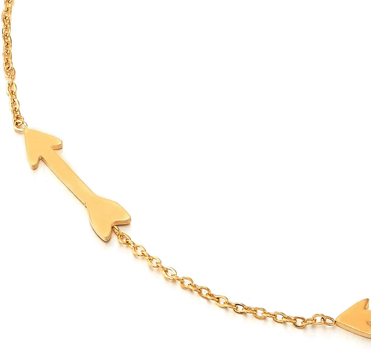 COOLSTEELANDBEYOND Stylish Stainless Steel Gold Color Arrow Charms Link Chain Anklet Bracelet Adjustable
