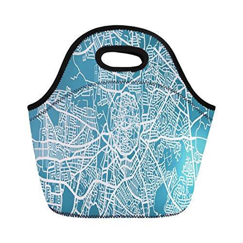 Semtomn Neoprene Lunch Tote Bag Blue Detailed Map of Nicosia Scale 30 000 Cyprus Reusable Cooler Bags Insulated Thermal Picnic Handbag for Travel,School,Outdoors, Work ()