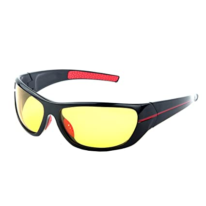 4c40f6e4147 JIANGTUN Yellow Lens Night Vision Polarized Sport Wrap Sunglasses Glasses  for Diving Fishing Shooting Multicolor Frame