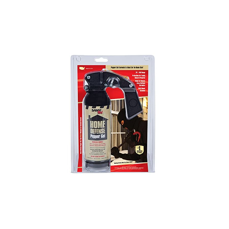 SABRE Red Pepper Gel Police Strength Family, Home & Property Defense Gel with Wall Mount Bracket