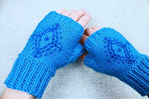 [Anna's Fingerless Gloves, blue snowflake embroidered fingerless gloves inspired by Disney's Frozen princess Anna, light mittens for costume, Hipster] (Hipster Disney Princesses Costumes)