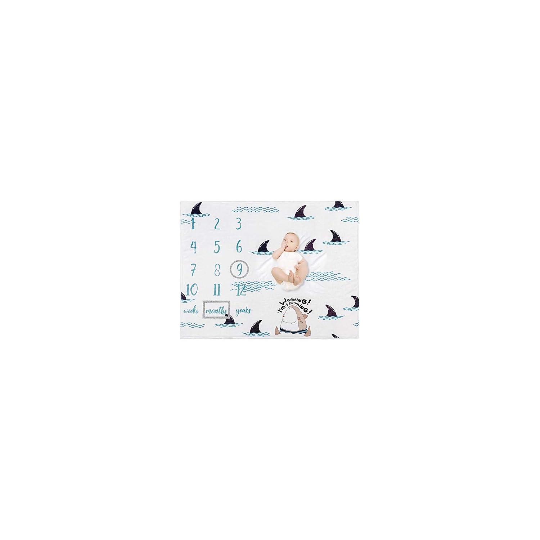 "Baby Monthly Milestone Blanket – Organic Plush Fleece Photography Background Prop for Boy Girl Newborn Baby Shower Gift Soft Shark Blanket with Frame 47""x40"""