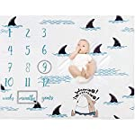 Baby-Monthly-Milestone-Blanket-Organic-Plush-Fleece-Photography-Background-Prop-for-Boy-Girl-Newborn-Baby-Shower-Gift-Soft-Shark-Blanket-with-Frame-47×40