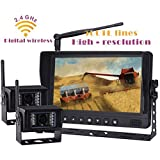 """Digital Wireless Rear View Backup Reverse Camera System, 9"""" Wireless Split LCD Monitor with Two Wireless Waterproof Ir Color Cameras for Excavator, Cement Truck, Farm Tractor, Trailer, 5th Wheel, Rv Camper, Heavy Truck"""